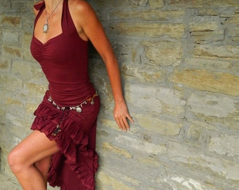 High low dresses, Gypsy clothing for women, Open back halter dress, Steampunk wear, Festival clothes for her, Funky fashion Maroon Bordeaux