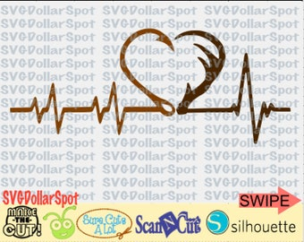 Hook and Antler SVG - Hook and Antler Heartbeat Svg - Fishing SVG - Hunting SVG - Silhouette File - Cut File
