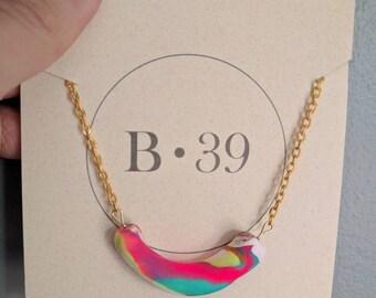 Mini tube necklace - neon marble