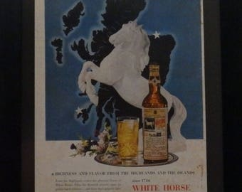 White Horse Scotch, Vintage Alcohol Ad, Man Cave Decor, Bar Decor, Alcohol Ephemera, Mixed Media