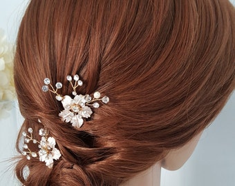 Bridal Comb Rose Gold Wedding Hair Comb Small Hair Comb Crystal Leaf Comb Set of 2
