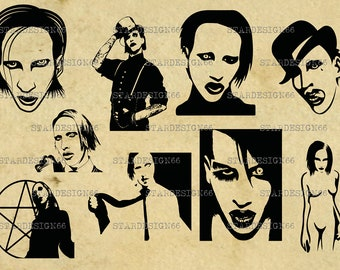 Digital SVG PNG JPG Marilyn Manson, silhouette, vector, clipart, instant download