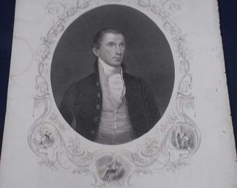 1857 Engraved Portrait Print-President James Monroe