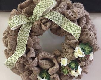 Tan Burlap Succulent and Rose Wreath,  Succulent Wreath, Burlap Floral Wreath