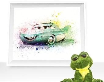80%OFF Cars print cars wall decor Cars printable Flo cars print Flo watercolor Flo art print, Flo cars printable, Flo poster, Flo wall art