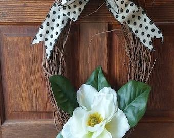 Simple, elegant magnolia wreath