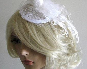 OOAK Statement bridal headpiece dove white ivory feathers sinamay hat wedding fascinator