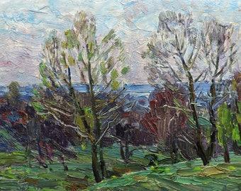 VINTAGE FOREST LANDSCAPE, Original Oil Painting by M.Borymchuk 1980s Woodland scenery, Spring Landscape, Soviet Ukrainian art, One of a kind