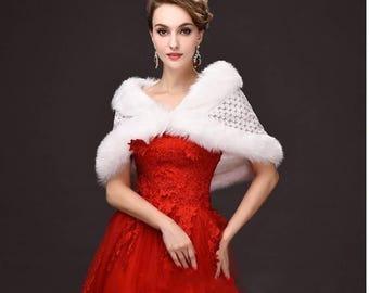 Ivory Bridal Crocheted and Faux Fur Bridal Wrap Bolero Jacket
