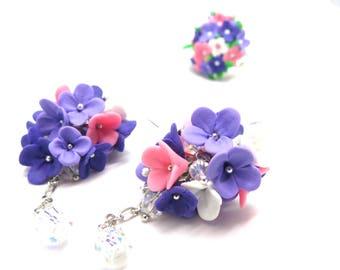 Flower earrings Lilac earrings Purple flower earrings Blossom earrings Floral earrings Dangle purple earrings Flower jewelry for wife
