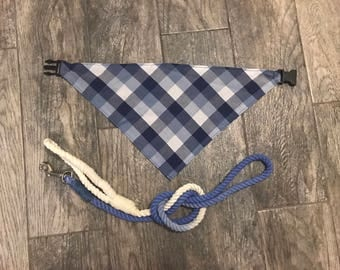 Blue Patchwork Flannel Plaid Personalized Dog Bandanas- Buckle-on
