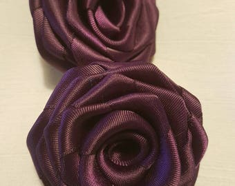 Handmade Ribbon Roses- Rolled Flowers (3 inch) in Plum