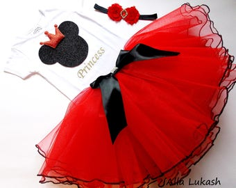 red MINNIE MOUSE dress,Minnie Mouse,First Birthday Outfit, Minnie Mouse Birthday Outfit Tutu Dress, Minnie Mouse Ears, Red Minnie Mouse Tutu