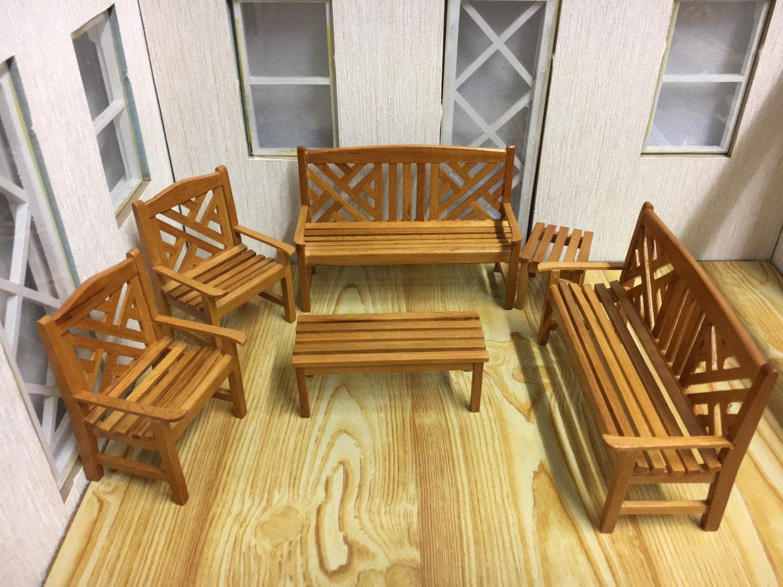 01:12 skalieren Dolls House Miniatur Gartenmöbel Set-6pcs