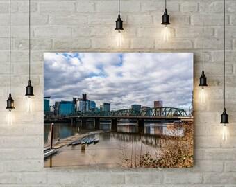 Portland, Oregon Hawthorne Bridge and Downtown Skyline Large Fine Art Print or Canvas Photography Wall Art