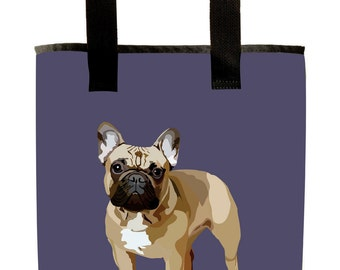 Reuseable Market Bag - Made from Recycled Materials - Eco-Friendly - Washable - Grocery Bag - French Bulldog - Purple - Dye Sublimation