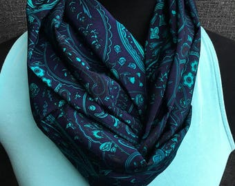 Navy Paisley Infinity Scarf, Paisley Circle Scarf, Teal Navy Infinity Scarf, Navy Scarf, Fashion Scarf, Dressy Scarf, Unique Scarf, Ocean