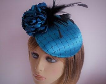 Teal fascinator - Wedding - Mother of the Bride - Ascot - Races -  turquoise - blue - hat - beret - percher - wedding fascinator - hatinator