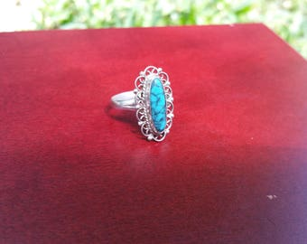 Mexican Spiderweb Turquoise Ring Size 6.25
