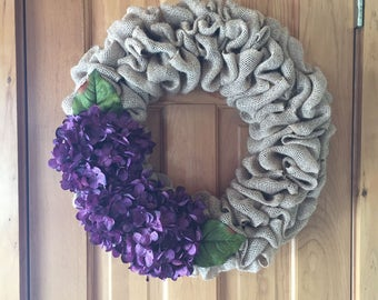 Purple hydrangea burlap wreath