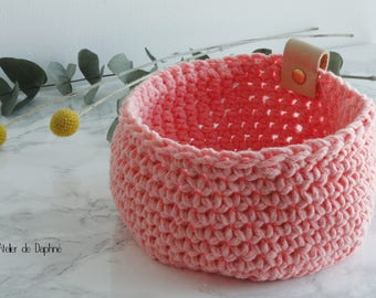 Crochet basket and leather, coral, brass rivet