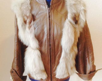 Brown Leather jacket with fur trim