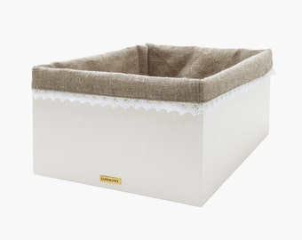 Order box ester - storage box - made of wood - chalk color white - lining made of linen and lace