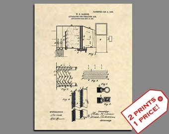 Patent Prints -  First Carrier Air Conditioner Patent Art - Vintage HVAC Art Patent Poster - Antique HVAC- Hvac Technician Wall Art - 348