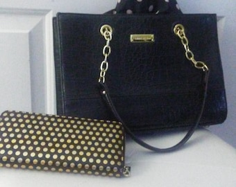 Anne Klein reptile embossed/gold chain purse with Anne Klein polka dot wallet