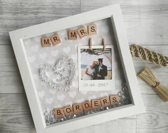 wedding frame anniversary gift wedding present personalised wedding gift mr and mrs - Mr And Mrs Frame