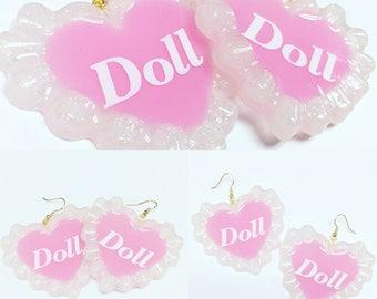 Doll Girl Pink Heart Earrings