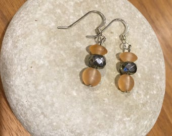 Silver peach earrings