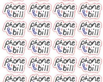 Phone Bill // Stickers // Personal Filofax // Erin Condren // Planner