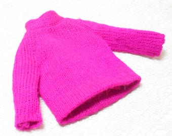 Vintage Pink Barbie Doll Sweater | Toy Doll Clothes | 13 inch Doll Clothes