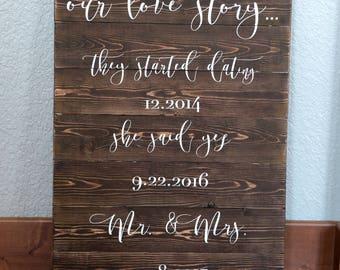 Wedding Love Story Sign