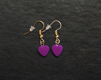 Small polymer clay dangle heart earrings.