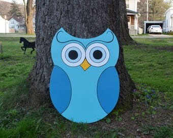 Owl Yard Stake, Blue Owl Garden Stake, Owl Yard Art, Wood Painted Owl Yard Sign, Owl Garden Decor, Outdoor Owl Decoration