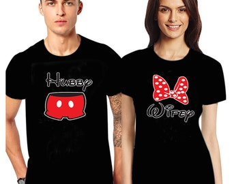 Valentine's Day Couple matching T Shirts Wifey Hubby couples shirt Women's + Men's