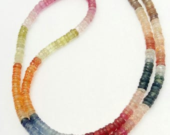 """Natural Multi sapphire faceted heishi beads ,3 mm Approx ,15""""strand [E0520]excellent quality Multi sapphire"""