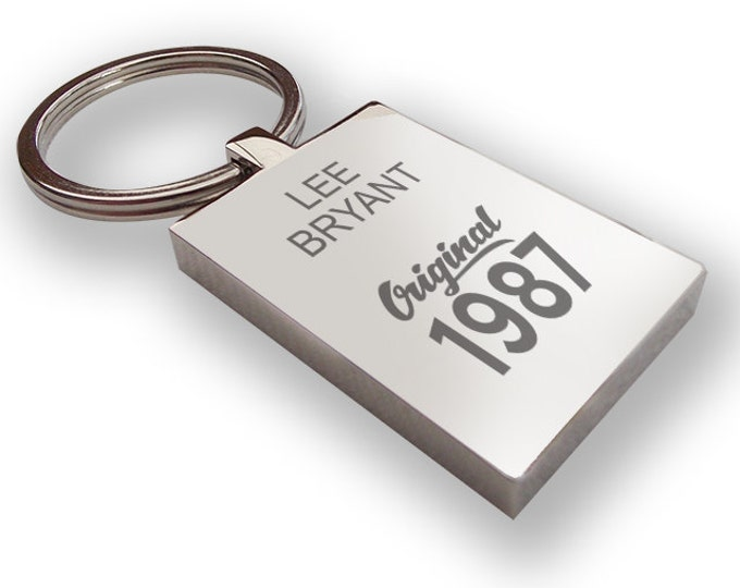 Personalised engraved 30th BIRTHDAY keyring gift, chunky rectangle keyring - original 1987 - 0G30