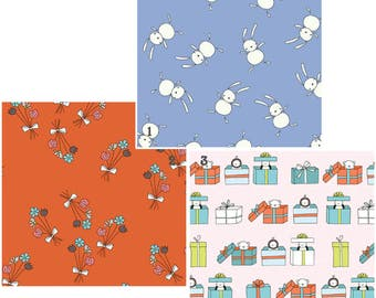 Sale--Just For Fun Quilting Cotton Fabrics by Marisa & Creative Thursday for Andover Fabrics 5761-B 6043-TL 6045-TO
