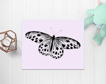 Butterfly Wall Art, Purple Butterfly, Digital Art