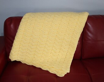 Yellow Wave Pattern Crocheted Afghan Blanket Throw