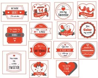 14 days of Valentine, 14 days of love, Valentine Day tags, Valentine countdown Instant Download