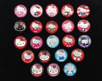 DIY Hello Kitty 20mm Glass Dome Flatback Cabochon Embellishments Scrapbooking 22pcs