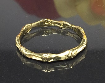 Vintage 14k solid gold bamboo ring - Gold Pinky Ring - Bamboo wedding Band - Gold Thumb Ring - Gold Friendship ring - Gold Midi Ring