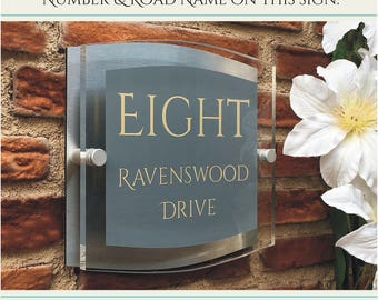House Signs Plaques Door Number Street Acrylic Name Modern Personalised Address Mid Grey