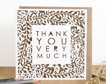 Thank you card, Thank you very much, Many thanks card, Thank you papercut card, Gratitude card, Luxury thank you card, Thanks note card