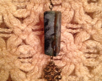 Antiqued Brass and Green Turqoise Necklace