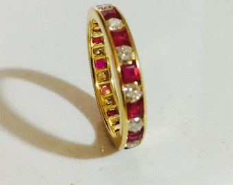 1.67ct Ruby and Diamond Eternity Ring 18kt gold